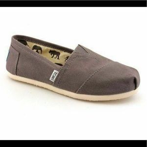 TOMS Classic Ash Taupe Slip On Canvas Flat